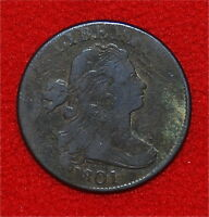 1801 LARGE CENT   DRAPED BUST W/STEMS   ONLY 1,362,837 MINTED