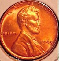 1949 LINCOLN WHEAT CENT..LUSTER BU RD..GEM SALE 25 OFF  REDUCED 2/11  A3