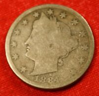 1884 LIBERTY V NICKEL G  DATE BEAUTIFUL COLLECTOR COIN GIFT LN348