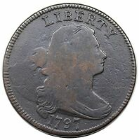 1797 DRAPED BUST LARGE CENT, REVERSE OF '95, GRIPPED EDGE, S-121B, R.3, VG DET.