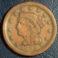 1852 LARGE CENT VF DETAILS FILLER TYPE COIN ASK FOR COMBINED $2.95 S&H 1C06
