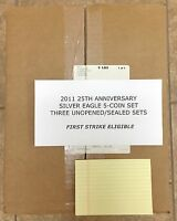 2011 AMERICAN SILVER EAGLE 25TH ANNIVERSARY SET SEALED 3 SETS FIRST STRIKE