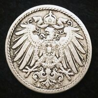 HISTORICAL ANTIQUE  GERMAN 5 PFENNIG COIN   MORE THAN 100 YEARS OLD COIN