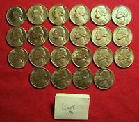 LOT OF 22 XF AU JEFFERSON NICKELS 1962 1995 PDS. NO DUPLICATES. LOT A