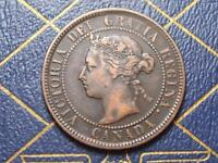 1884 CANADIAN LARGE PENNY DIE CLASH 4 UNDER QUEEN VICTORIAS CHIN VARIETY LOTBX41