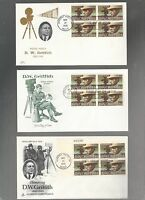 US FDC FIRST DAY COVER  1555 D W GRIFFITH 1975   LOT OF 3 WITH BLOCKS