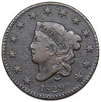 1829 CORONET HEAD LARGE CENT MEDIUM LETTERS N 5 R.3 VF DETAIL
