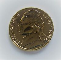 1999 P 5C JEFFERSON NICKEL   MINT CONDITION   GOLD COLORIZED   PROOF LIKE