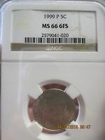 1999 P JEFFERSON NICKELS  NGC MS66