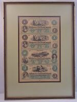 TALLAHASSEE RAIL ROAD COMPANY 1800'S 4 NOTES UNCUT SHEET $1 $2 $3 FRAMED 4886