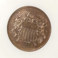 1866 TWO CENT PIECE 2C NGC CERTIFIED PF 65 BN PROOF STRUCK BROWN US COPPER COIN