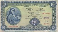1970 LADY LAVERY 10 PUNT BANKNOTE CENTRAL BANK OF IRELAND