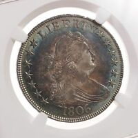 1806 DRAPED BUST 50C NGC CERTIFIED AU DETAILS SCRATCHED OBVERSE COLORFULLY TONED