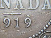 1919  APOSTROPHE 9 DIE CHIP CANADIAN LARGE PENNY KING GEORGE V LOT BX66