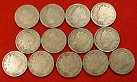 1900-1912 LIBERTY V NICKEL G FULL RIMS COLLECTOR 13 COINS  QUALITY LN561