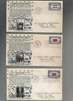US FDC  FIRST DAY COVERS OVERRUN NATIONS 1943 BY CROSBY LOT OF 9