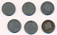 1901 1902 1907 1908 1910 1911 LIBERTY HEAD V NICKELS 6 COINS
