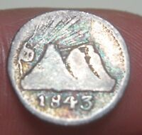 1843  G GUATEMALA 1/4 REAL SILVER   VERY      CENTRAL AMERICAN REPUBLIC