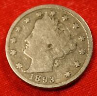1893 LIBERTY V NICKEL F  DATE BEAUTIFUL COLLECTOR COIN GIFT LN351
