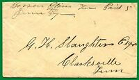 CSA. BARREN PLAINS, TENNESSEE MS PMK ON COVER W/ 1861 LETTER TO CLARKESVILLE.