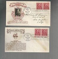 US  FDC FIRST DAY COVERS FAMOUS AMERICAN HOPKINS 1940 LOT OF 2  BY CROSBY