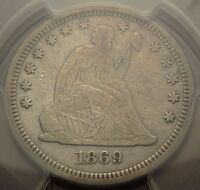 1869 25C PCGS F15 BETTER DATE SEATED LIBERTY QUARTER