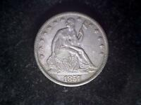 1857 S LIBERTY SEATED HALF DOLLAR AU UNCERTIFIED CIRCULATED BUSINESS STRIKE