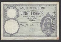 TUNISIA OVERPRINT ON ALGERIA   20  FRANCS  1939   @  @
