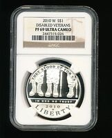 2010 W DISABLED VETERANS SILVER DOLLAR COMMEMORATIVE $1 NGC PF 69 ULTRA CAMEO