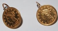 GENUINE LIBERTY HEAD QUARTER EAGLE US GOLD COIN EARRINGS LOT 1902 & 1904