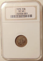 1878 THREE CENT NICKEL    PROOF ISSUE ONLY NGC PF 65    BEAUTIFUL GEM COIN