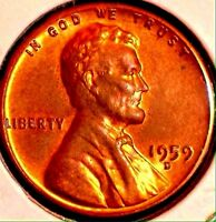 1959 D LINCOLN CENT..LUSTER BU RB..COLORS SALE 30OFF  REDUCED 5/20  9X