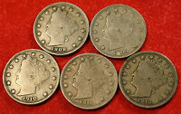 1908, 09, 10, 11, 12 LIBERTY V NICKEL F  QUALITY COLLECTOR,  5 COINS LN380