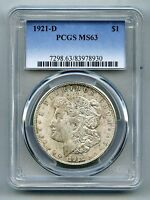 1921 D MORGAN SILVER DOLLAR    PCGS MS 63    MINT STATE   IN USA