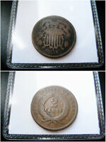 1865 TWO CENT PIECE CHOICE F COIN