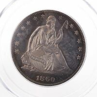 1860 SEATED LIBERTY PROOF 50C PCGS PR63 CAC CERTIFIED GREEN LABEL TONED SILVER