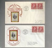 US FDC FIRST DAY COVER  865 WHITTIER 1940 FAMOUS AMERICANS  LOT OF 2