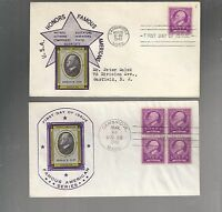 US FDC FIRST DAY COVER  871 ELIOT 1940 FAMOUS AMERICANS  LOT OF 2