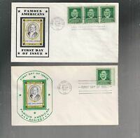 US FDC FIRST DAY COVER  874 AUDUBON 1940 FAMOUS AMERICANS  LOT OF 2