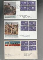 US FIRST DAY COVER FDC  926 MOTION PICTURE 1944 LOT OF 3 GLUED ON CACHETS BLOCK