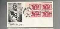 US FDC  FIRST DAY COVER  962 FRANCIS SCOTT KEY 1948  PLATE BLOCKS FLEETWOOD