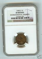 1908 S INDIAN HEAD CENT GRADED NGC XF DETAILS  ENVIRONMENTAL DAMAGE