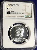 1967 SMS 50C SILVER KENNEDY HALF DOLLAR   NGC MS 66 SEMI CAMEO APPEARANCE