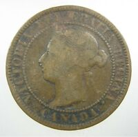 CANADA 1 CENT 1888 COPPER SHARP I QUEEN VICTORIA CANADIAN LARGE  WORLD COIN