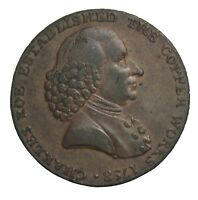 1791 GREAT BRITAIN CHESHIRE MACCLESFIELD CHARLES ROE HALFPENNY CONDER TOKEN DH28