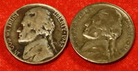 1942 P S JEFFERSON WAR NICKELS 2 COINS 35 SILVER GREAT COLLECTOR GIFT JN64