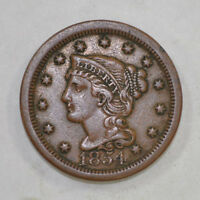 1854 LARGE CENT PENNY