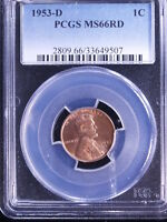 1953-D 1C RD LINCOLN CENT PCGS MINT STATE 66 RED