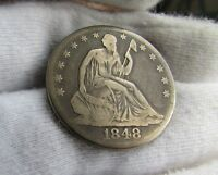 1848 O SEATED LIBERTY HALF DOLLAR   TOUGH NEW ORLEANS MINT   ORIGINAL SKIN