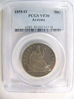 1855 O ARROWS LIBERTY SEATED HALF DOLLAR PCGS VF 30 CERT 20154374